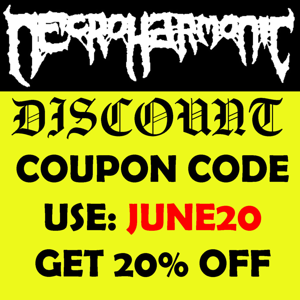 Necroharmonic Death metal T shirt sale . Always decent priced merch for fans and legions of doom