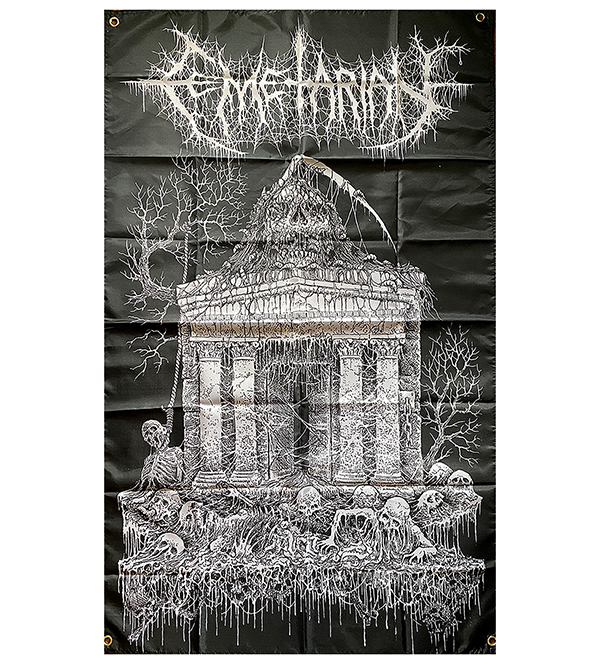 NEW FLAG RELEASE WITH TEXAS DEATH METAL BAND CEMETARIAN , sick demo band from Texas death metal demo 2019 and 2020 banner release on Necroharmonic